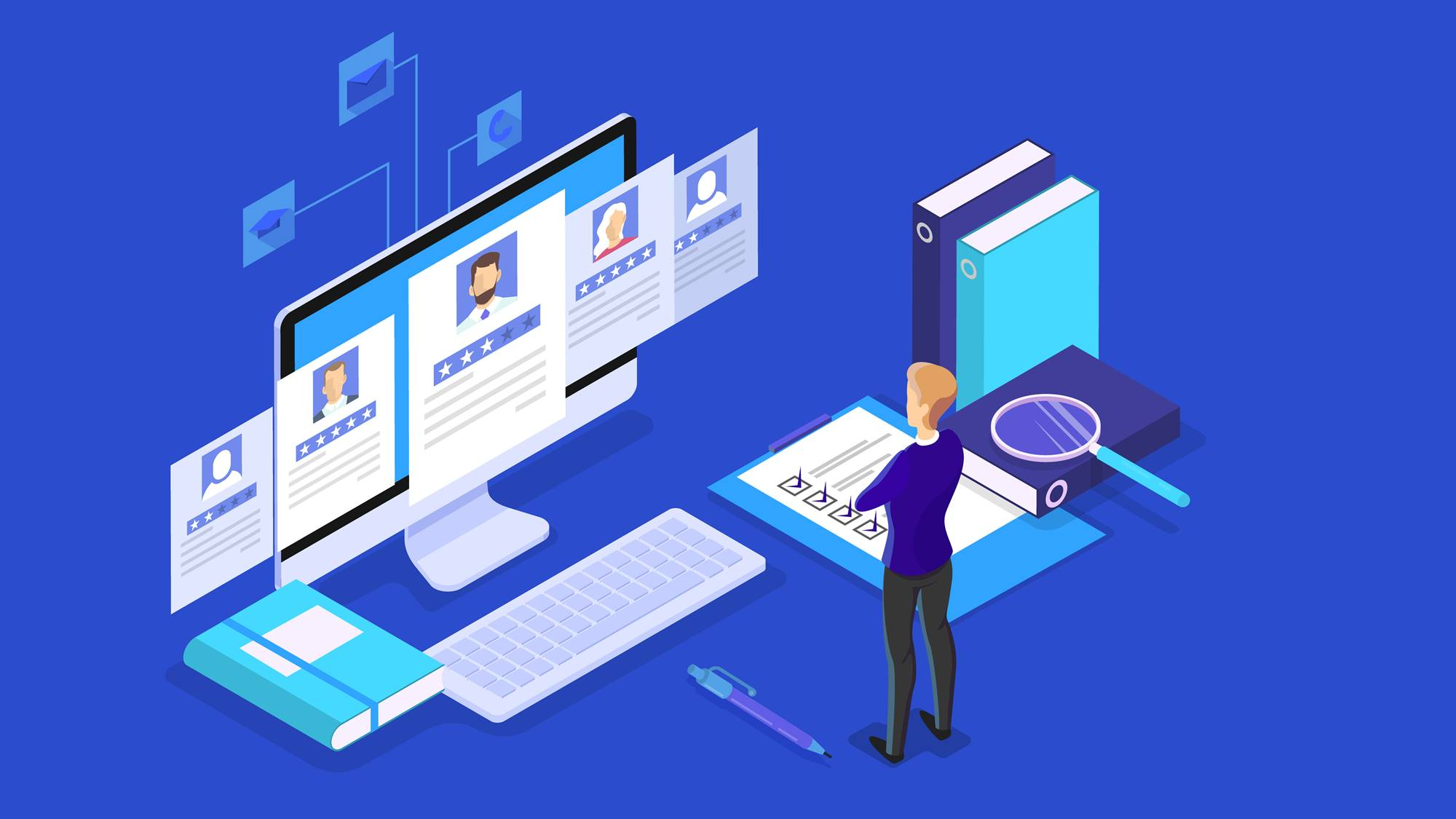 Man looking at CV profile and make examination. HR manager making resume examination on computer. Looking for job candidate to hire. Idea of recruitment. Vector isometric illustration