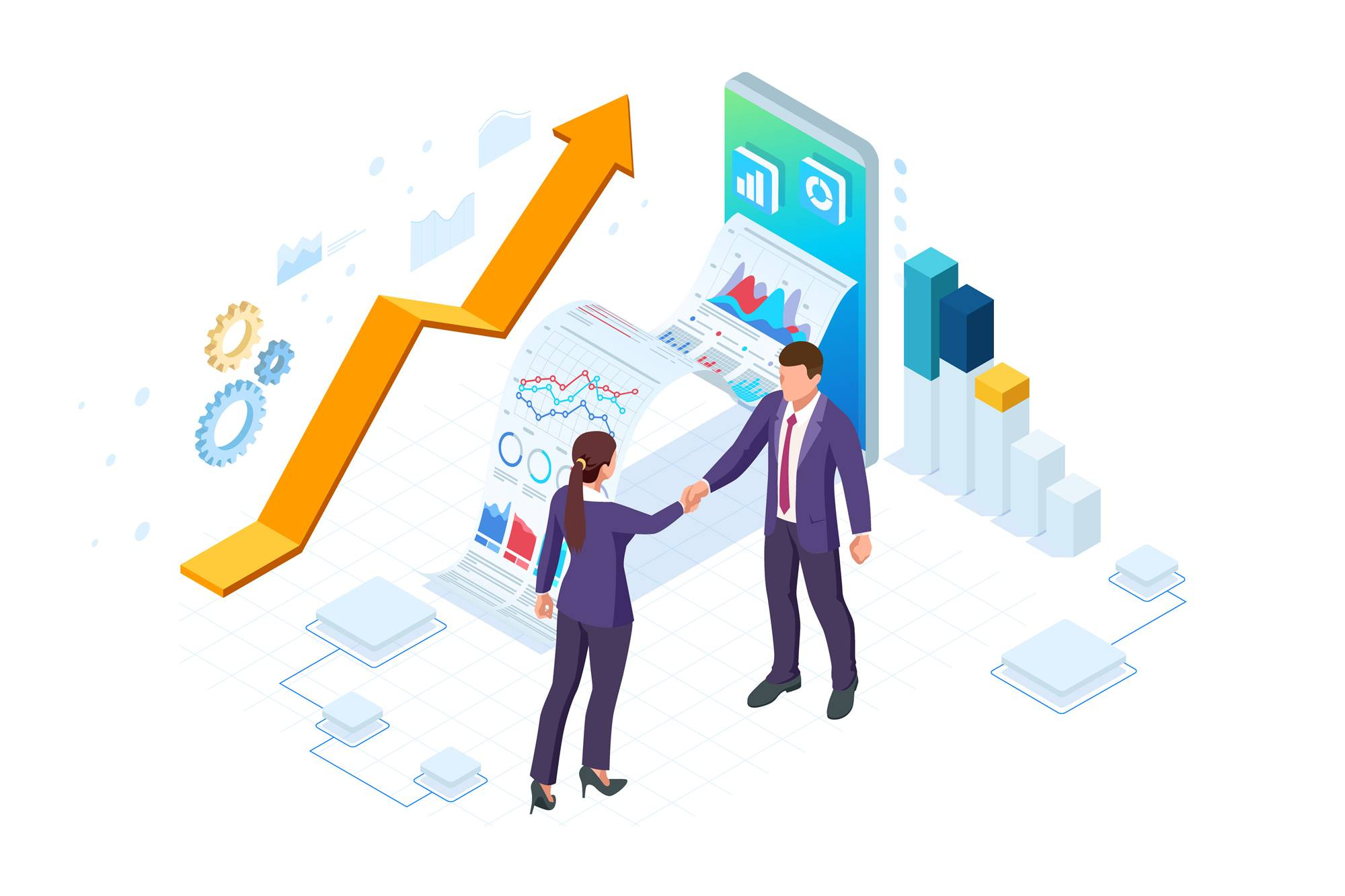 Isometric Business to Business Marketing, B2B Solution, business marketing concept. Two business partners shaking hands.